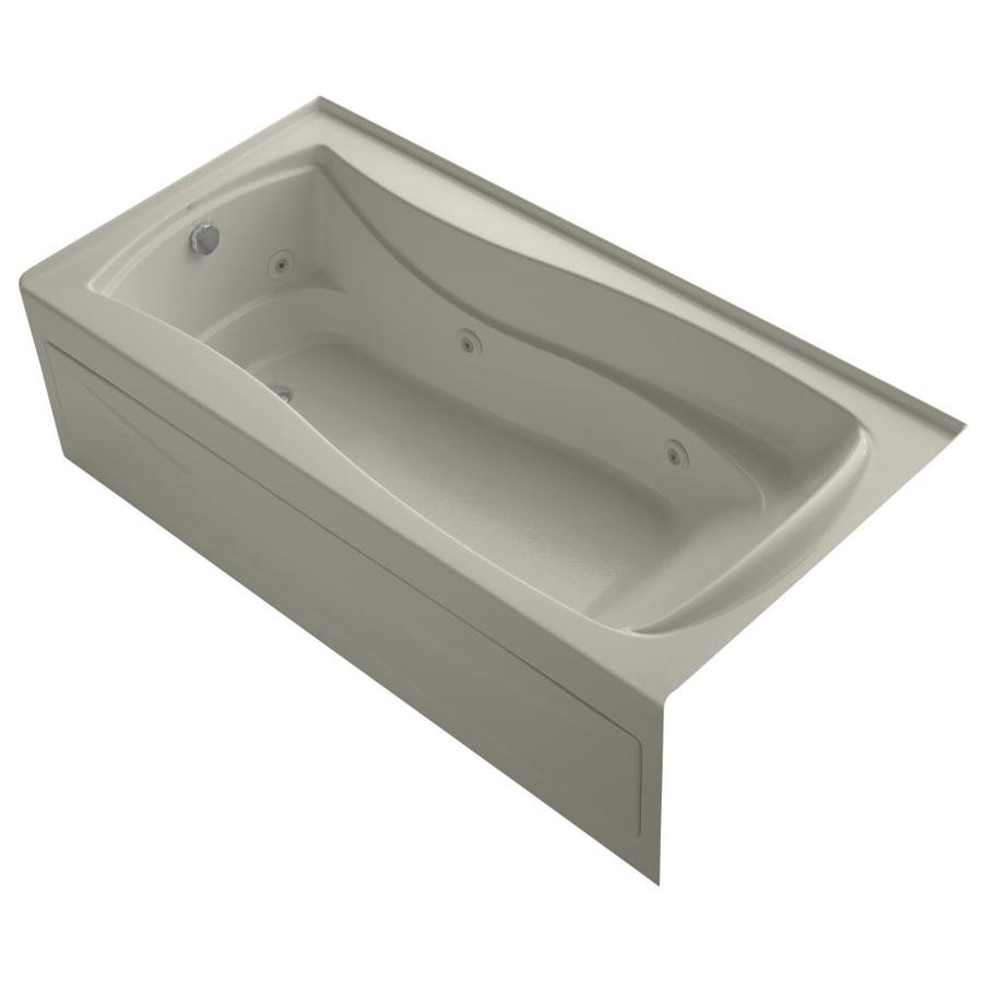 KOHLER Mariposa 72-in Sandbar Acrylic Alcove Whirlpool Tub with Left-Hand Drain