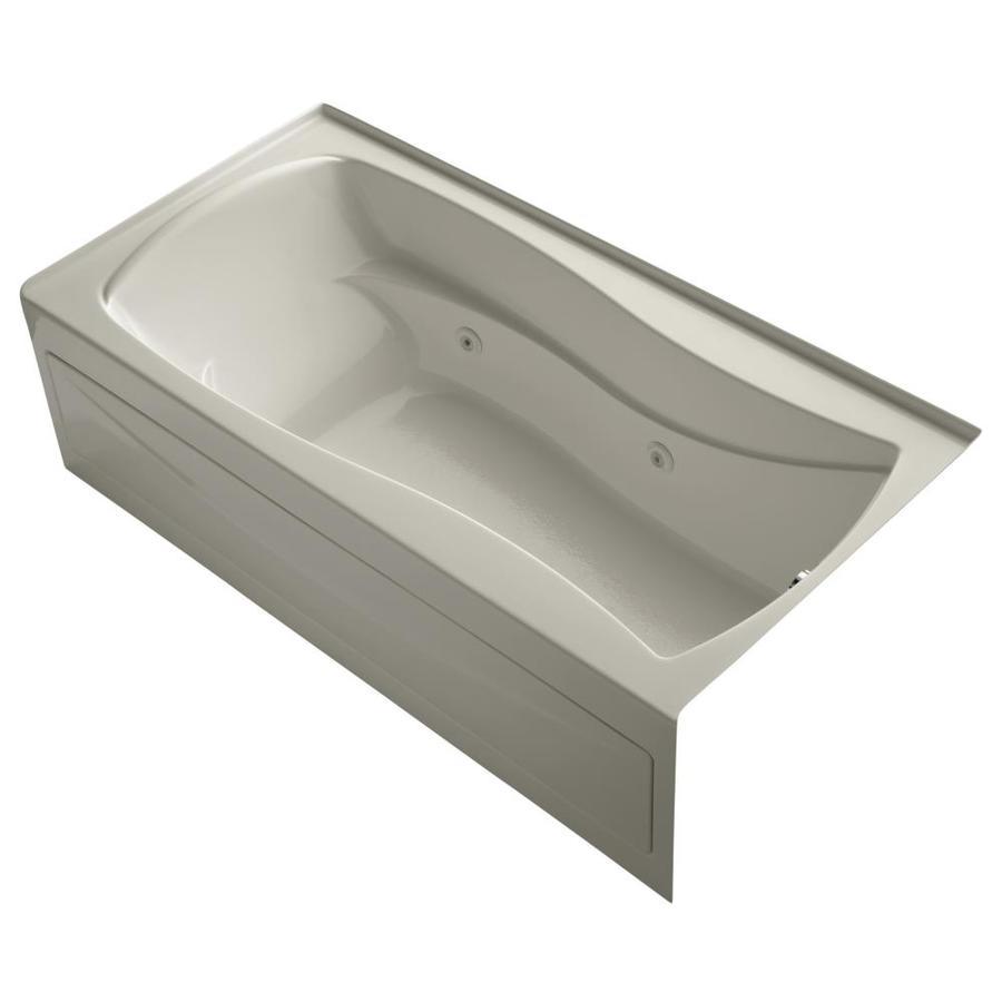 KOHLER Mariposa 72-in Sandbar Acrylic Alcove Whirlpool Tub with Right-Hand Drain