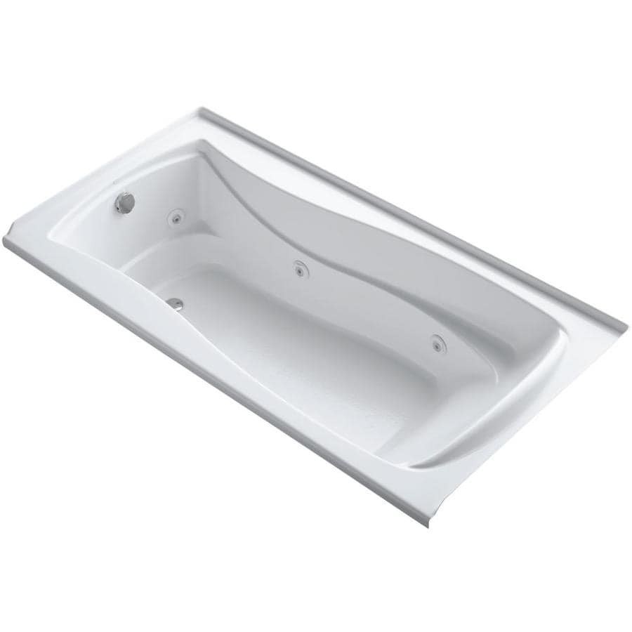 KOHLER Mariposa 72-in White Acrylic Alcove Whirlpool Tub with Left-Hand Drain