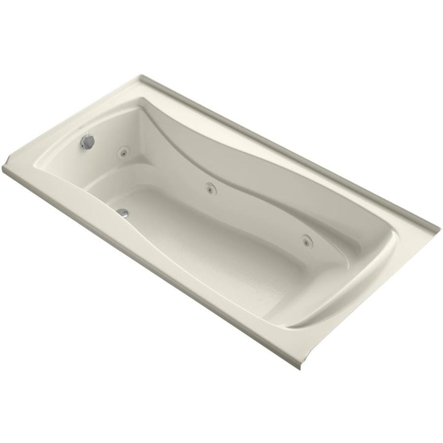 KOHLER Mariposa Almond Acrylic Hourglass In Rectangle Alcove Whirlpool Tub (Common: 36-in x 72-in; Actual: 21.25-in x 36-in)