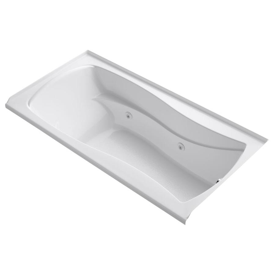 KOHLER Mariposa White Acrylic Hourglass In Rectangle Alcove Whirlpool Tub (Common: 36-in x 72-in; Actual: 21.25-in x 36-in)