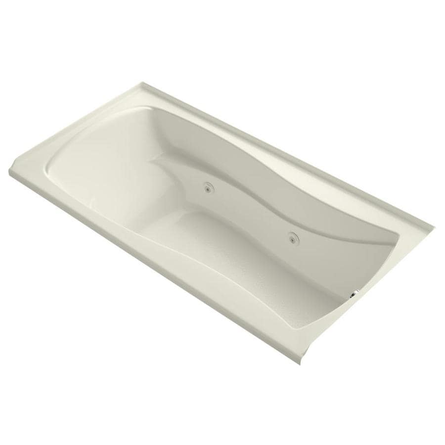 KOHLER Mariposa 72-in Biscuit Acrylic Alcove Whirlpool Tub with Right-Hand Drain