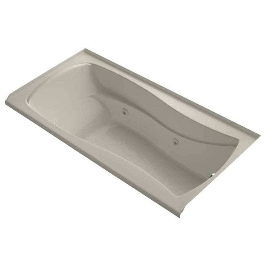 KOHLER Mariposa Sandbar Acrylic Hourglass In Rectangle Alcove Whirlpool Tub (Common: 36-in x 72-in; Actual: 21.25-in x 36-in)