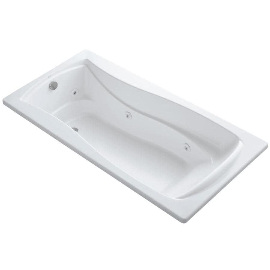 KOHLER Mariposa 72-in White Acrylic Drop-In Whirlpool Tub with Reversible Drain