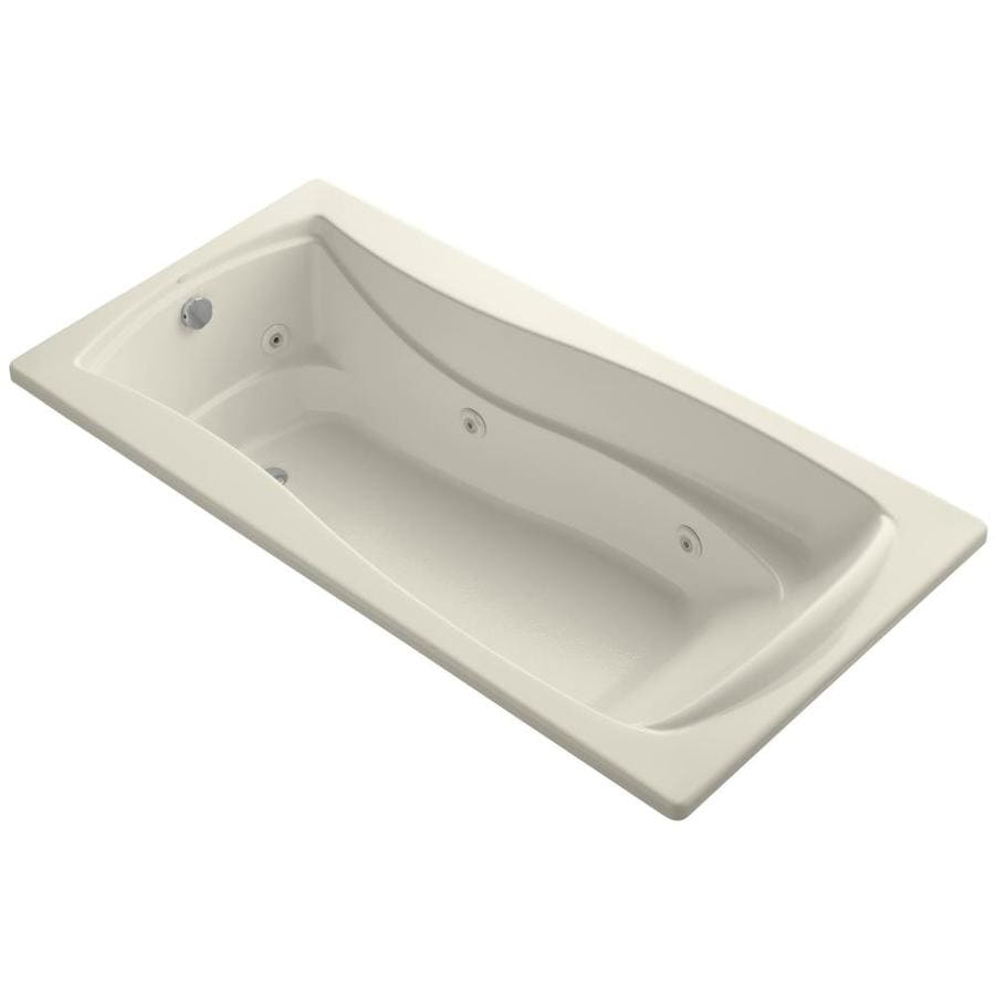 KOHLER Mariposa Almond Acrylic Hourglass In Rectangle Drop-in Whirlpool Tub (Common: 36-in x 72-in; Actual: 20-in x 36-in)