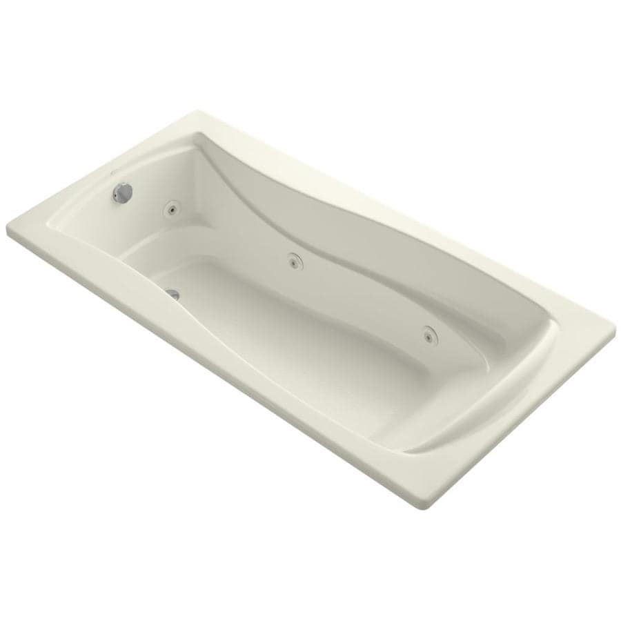 KOHLER Mariposa Biscuit Acrylic Hourglass In Rectangle Drop-in Whirlpool Tub (Common: 36-in x 72-in; Actual: 20-in x 36-in)