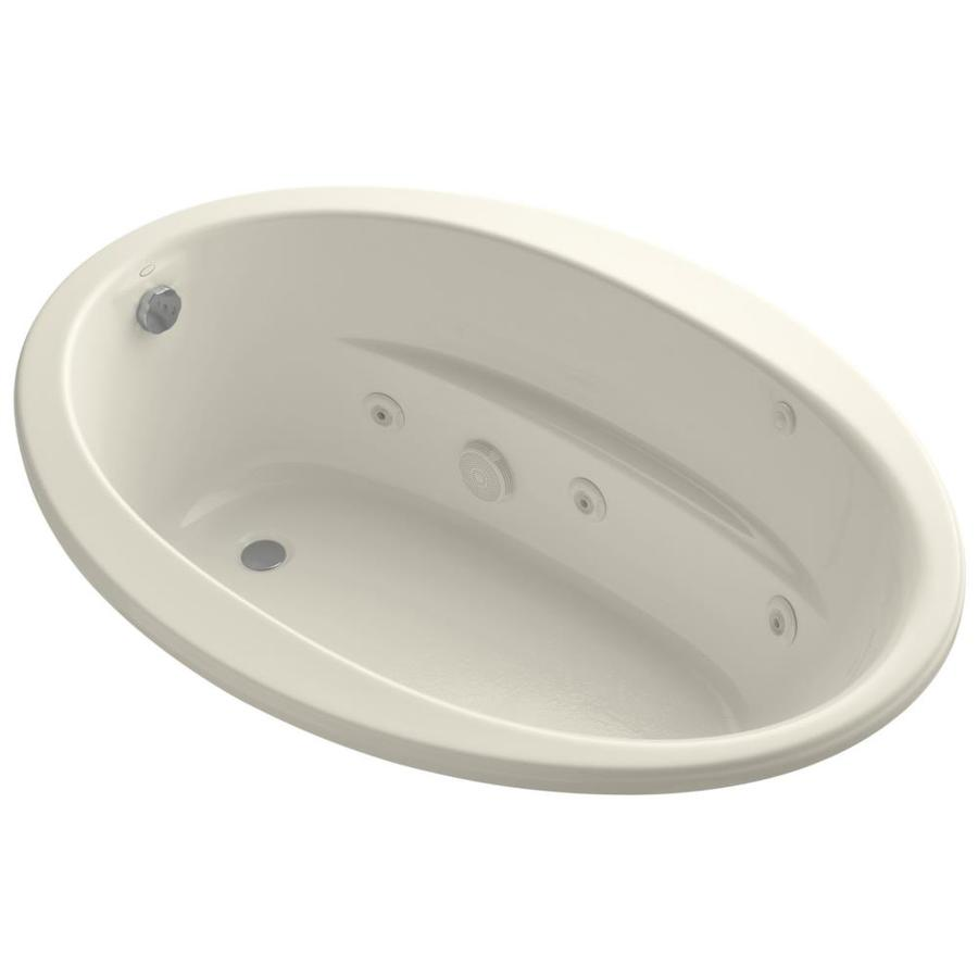 KOHLER Sunward 60-in Almond Acrylic Drop-In Whirlpool Tub with Reversible Drain