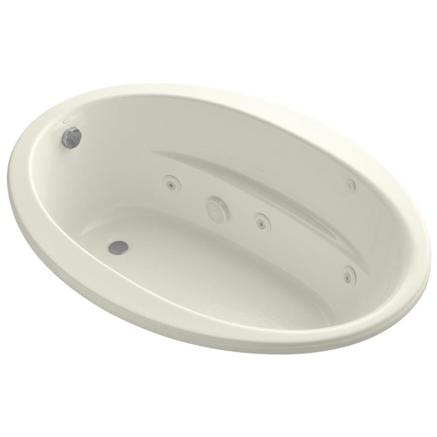 KOHLER Sunward 60-in Biscuit Acrylic Drop-In Whirlpool Tub with Reversible Drain