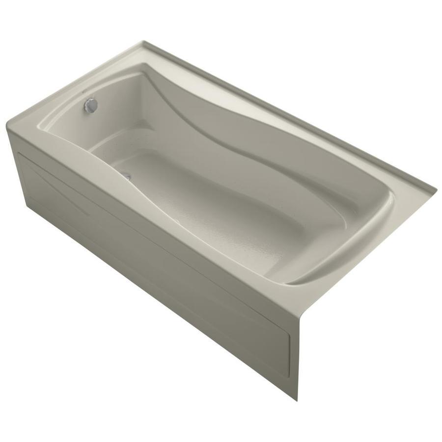 KOHLER Mariposa 72-in Sandbar Acrylic Alcove Air Bath with Left-Hand Drain
