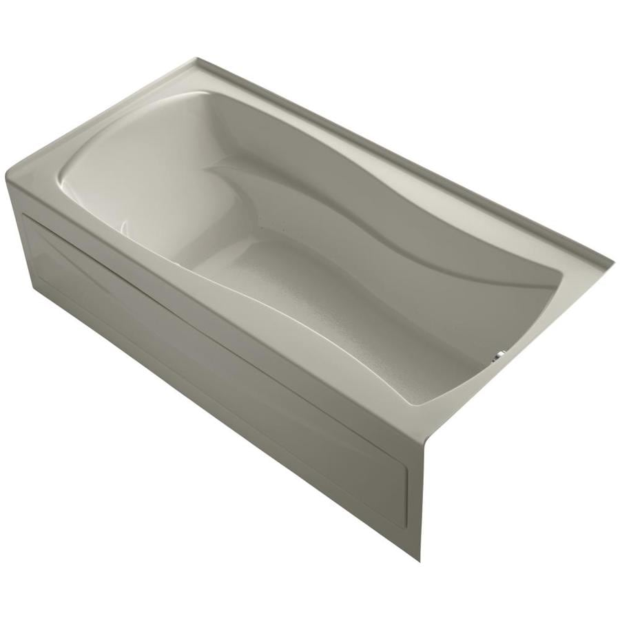 KOHLER Mariposa 72-in Sandbar Acrylic Alcove Air Bath with Right-Hand Drain