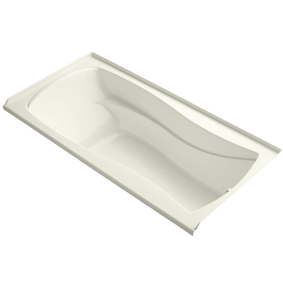 KOHLER Mariposa 72-in L x 36-in W x 20-in H Biscuit Acrylic Hourglass In Rectangle Alcove Air Bath