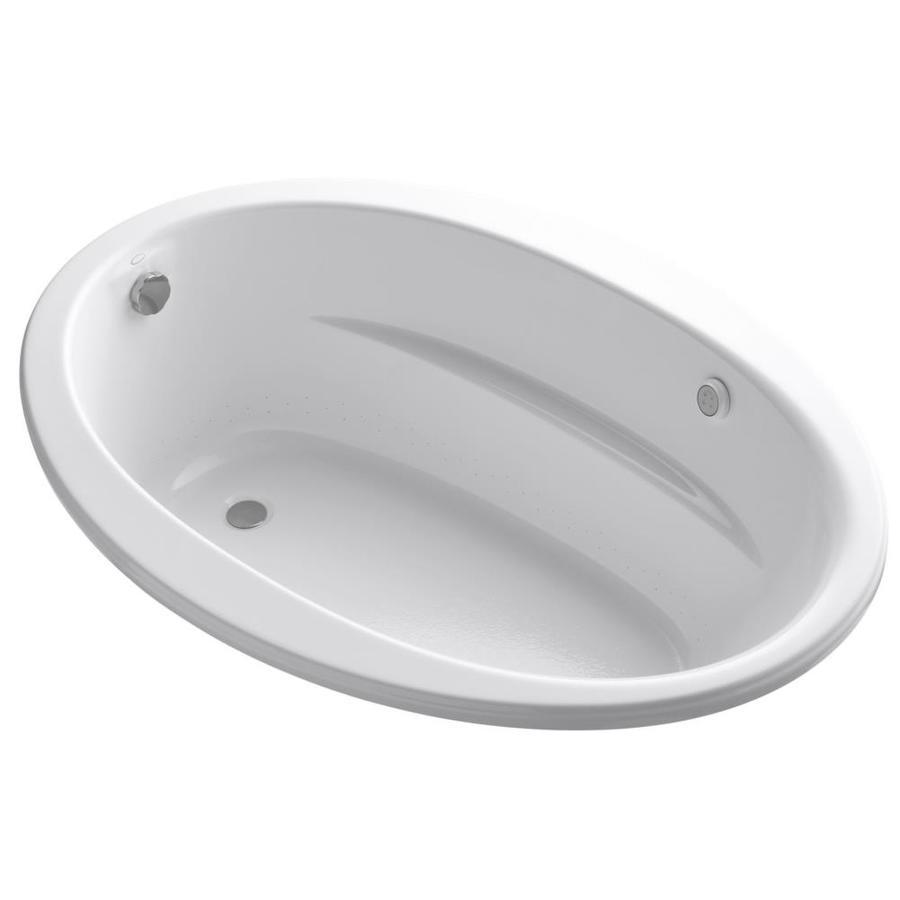 KOHLER Sunward 60.0-in L x 42.0-in W x 21.0-in H White Acrylic Oval Drop-in Air Bath
