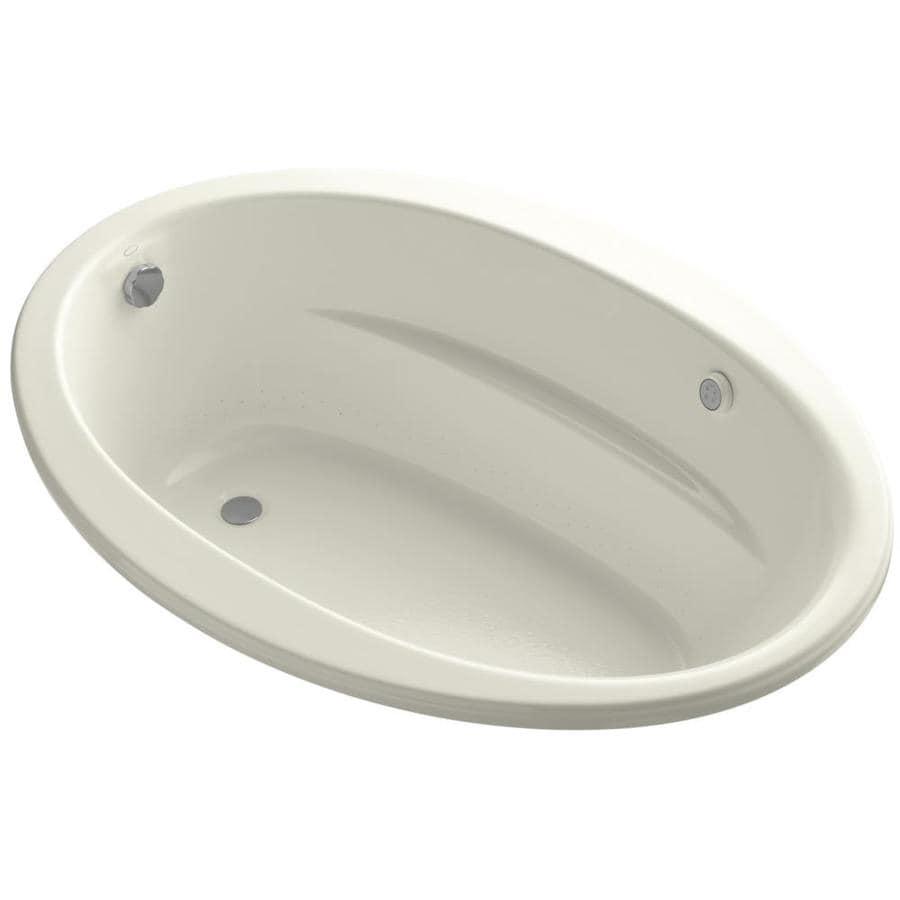 KOHLER Sunward 60.0000-in L x 42.0000-in W x 21.0000-in H Biscuit Acrylic Oval Drop-in Air Bath