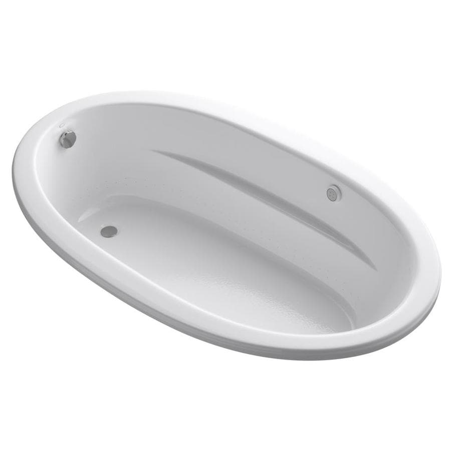 KOHLER Sunward 72-in White Acrylic Drop-In Air Bath with Reversible Drain