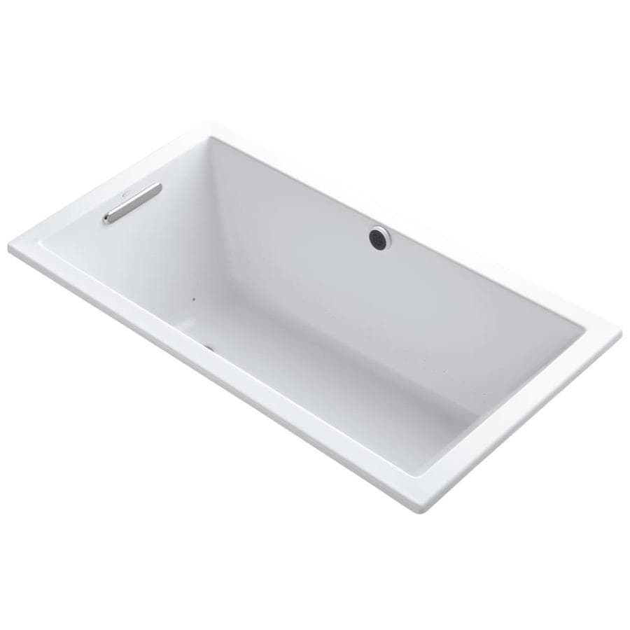 KOHLER Underscore 60-in White Acrylic Drop-In Air Bath with Reversible Drain