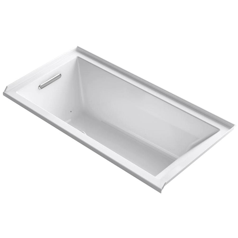 KOHLER Underscore 60-in White Acrylic Drop-In Air Bath with Left-Hand Drain