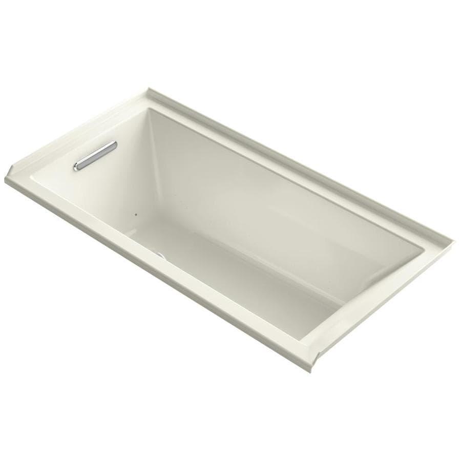 KOHLER Underscore 60-in Biscuit Acrylic Drop-In Air Bath with Left-Hand Drain