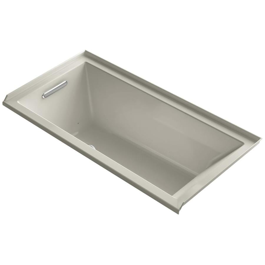 KOHLER Underscore 60-in Sandbar Acrylic Drop-In Air Bath with Left-Hand Drain