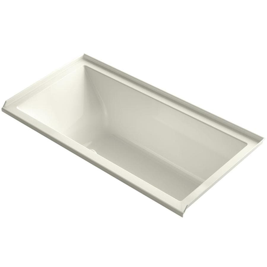 KOHLER Underscore 60-in Biscuit Acrylic Drop-In Air Bath with Right-Hand Drain