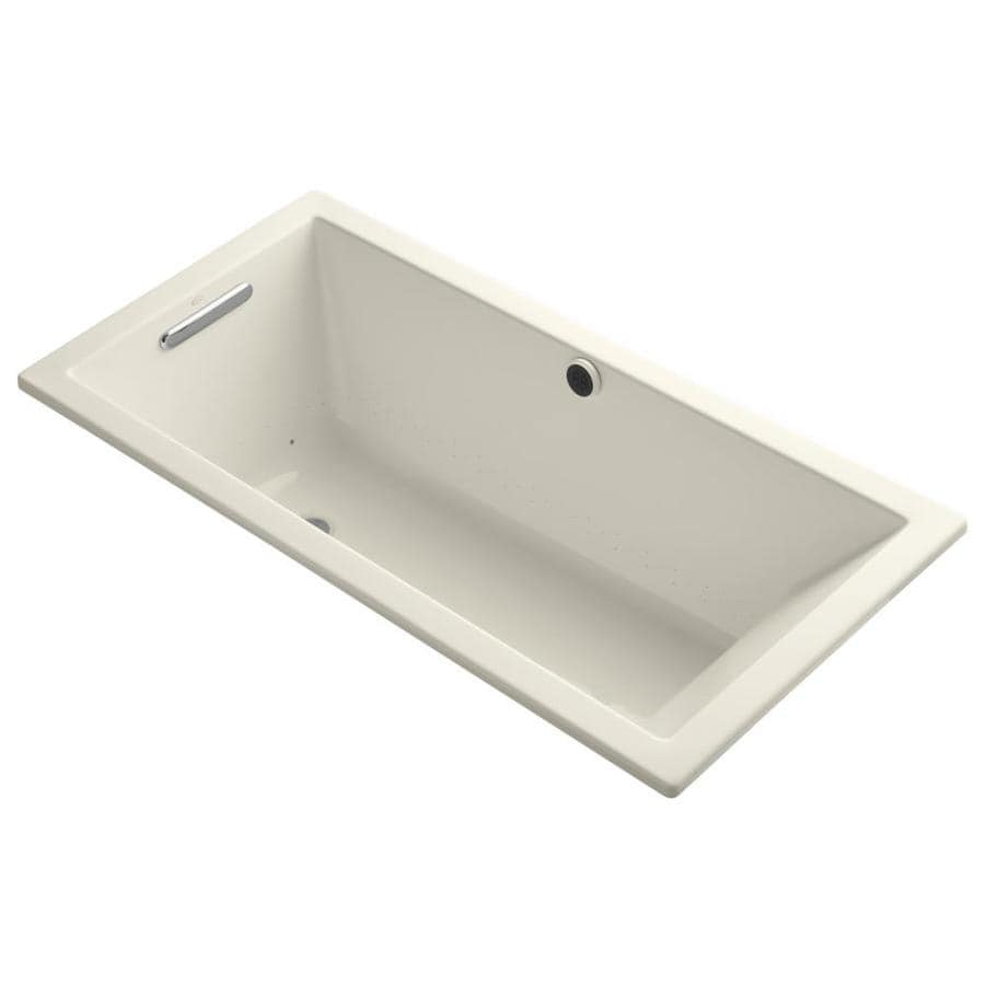 KOHLER Underscore 60-in L x 30-in W x 19-in H Almond Acrylic Rectangular Drop-in Air Bath