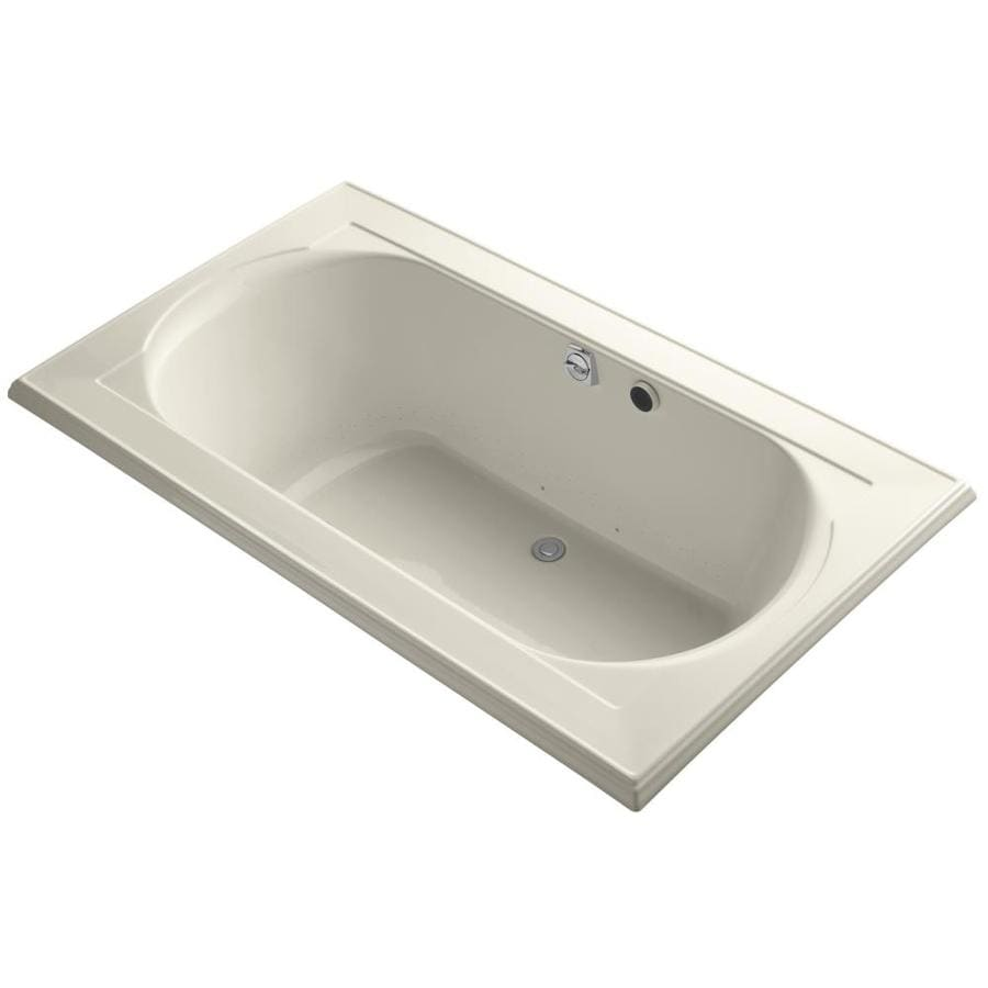 KOHLER Memoirs 72-in Almond Acrylic Drop-In Air Bath with Front Center Drain