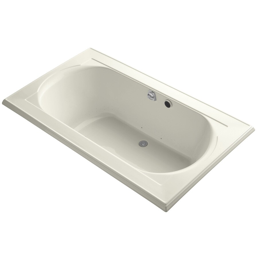 KOHLER Memoirs 72-in Biscuit Acrylic Drop-In Air Bath with Front Center Drain