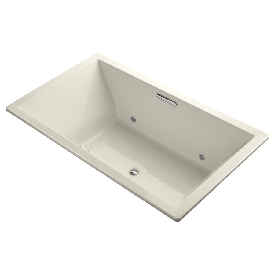 KOHLER Underscore 72-in Almond Acrylic Drop-In Air Bath with Front Center Drain