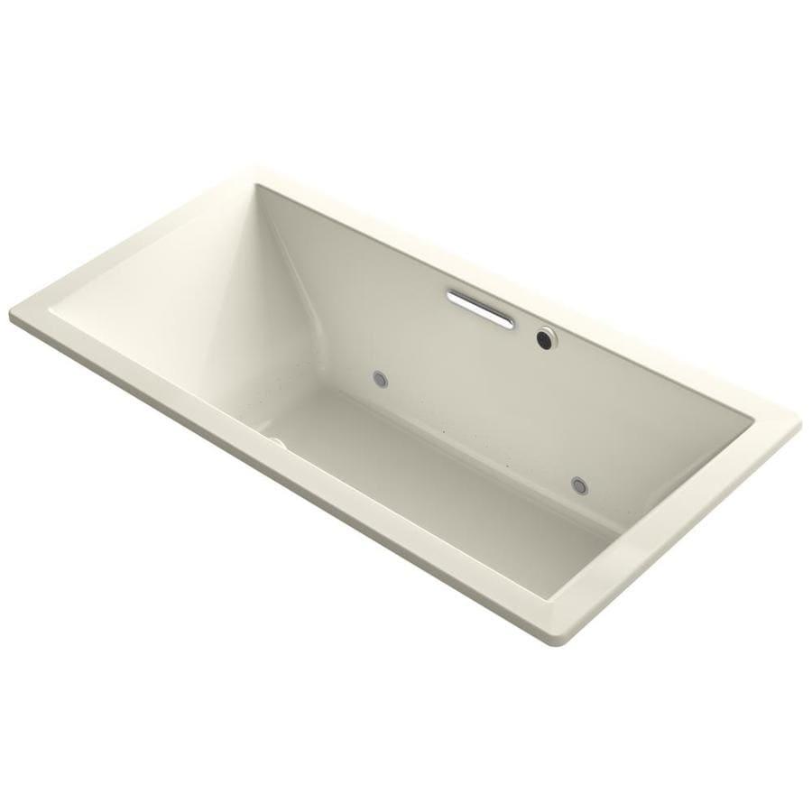 KOHLER Underscore 72-in L x 36-in W x 23-in H Almond Acrylic Rectangular Drop-in Air Bath