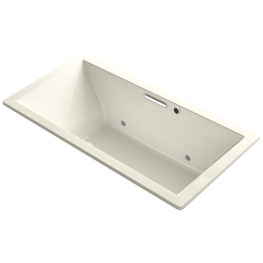 KOHLER Underscore 72-in Biscuit Acrylic Drop-In Air Bath with Front Center Drain