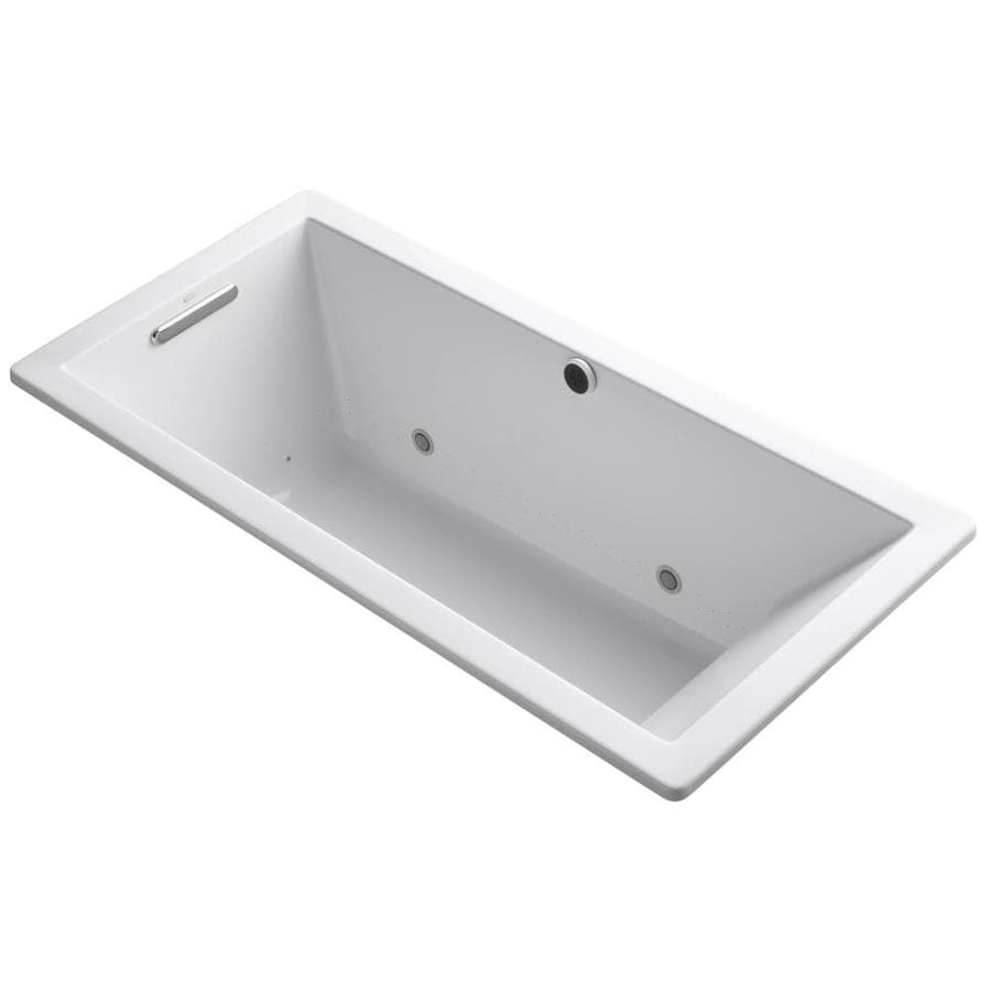 KOHLER Underscore 66-in L x 32-in W x 22-in H White Acrylic Rectangular Drop-in Air Bath