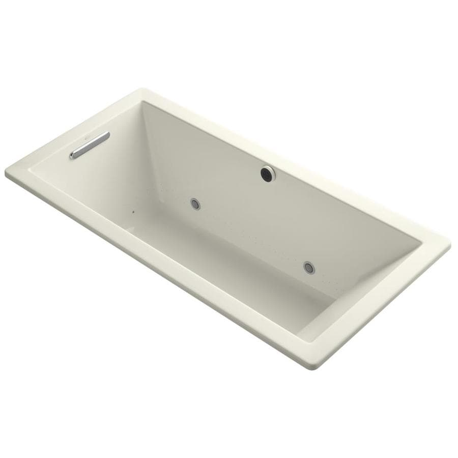 KOHLER Underscore 66-in Biscuit Acrylic Drop-In Air Bath with Reversible Drain
