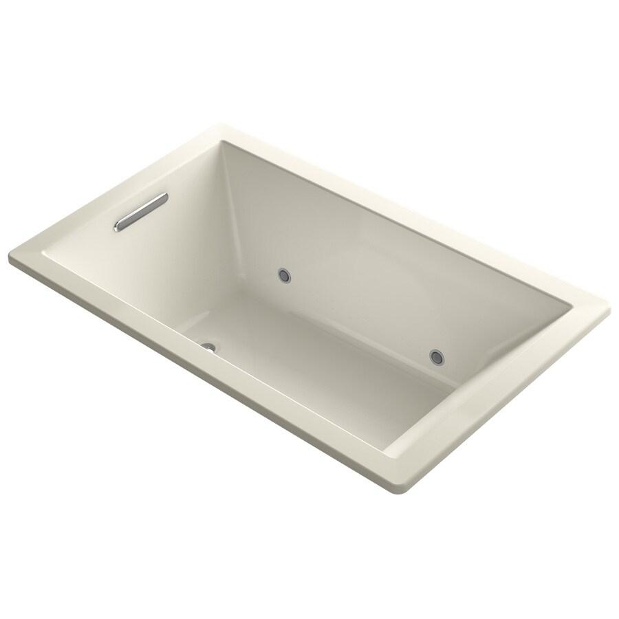 KOHLER Underscore 60-in Almond Acrylic Drop-In Air Bath with Reversible Drain
