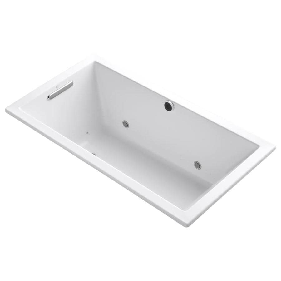 KOHLER Underscore 60-in L x 32-in W x 21-in H White Acrylic Rectangular Drop-in Air Bath