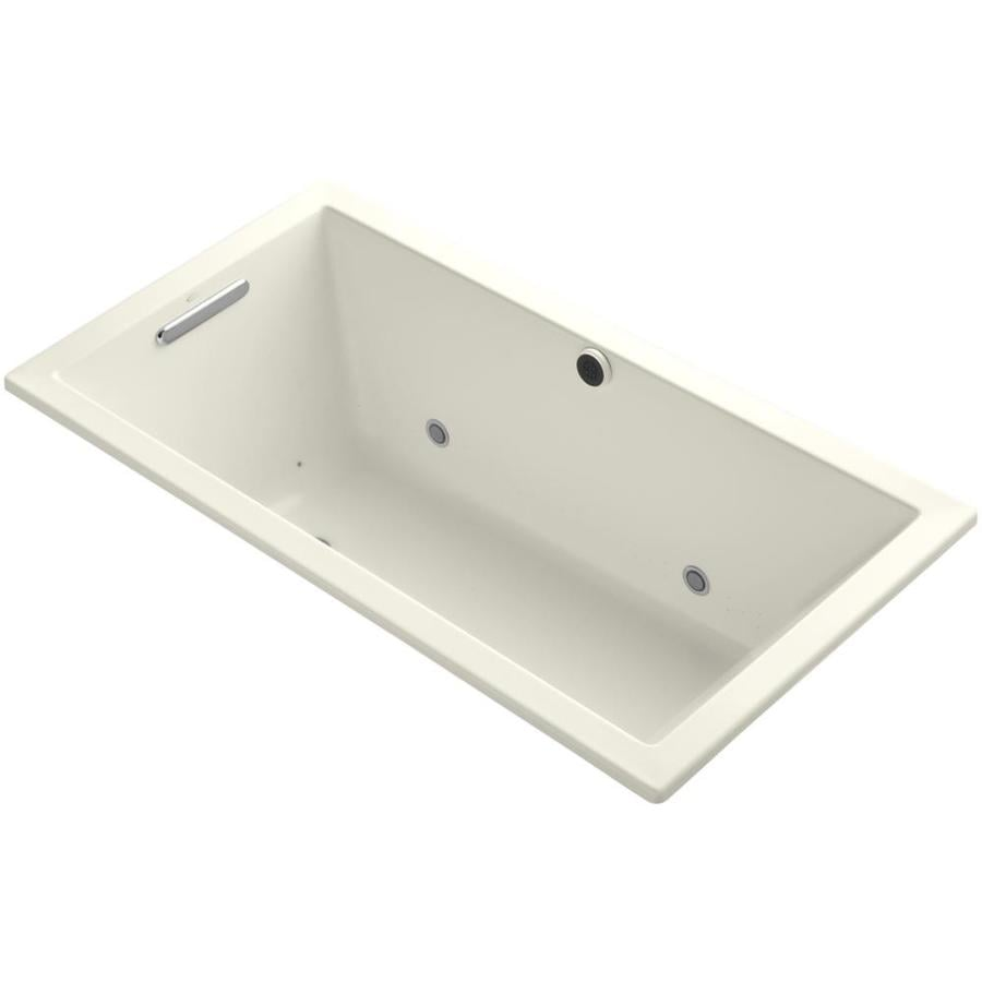 KOHLER Underscore 60-in Biscuit Acrylic Drop-In Air Bath with Reversible Drain