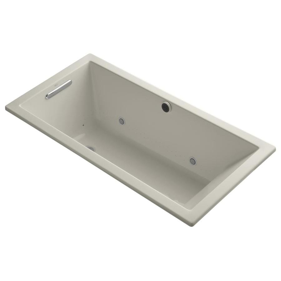 Shop KOHLER Underscore 60-in Sandbar with Reversible Drain Bathtub ...