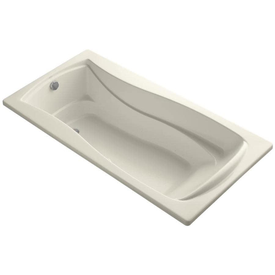 KOHLER Mariposa 72-in L x 36-in W x 20-in H Almond Acrylic Hourglass In Rectangle Drop-in Air Bath