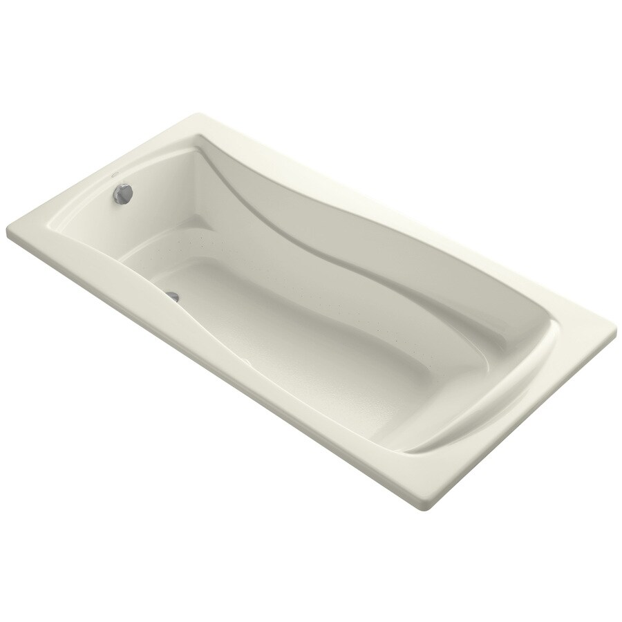 KOHLER Mariposa 72-in L x 36-in W x 20-in H Biscuit Acrylic Hourglass In Rectangle Drop-in Air Bath