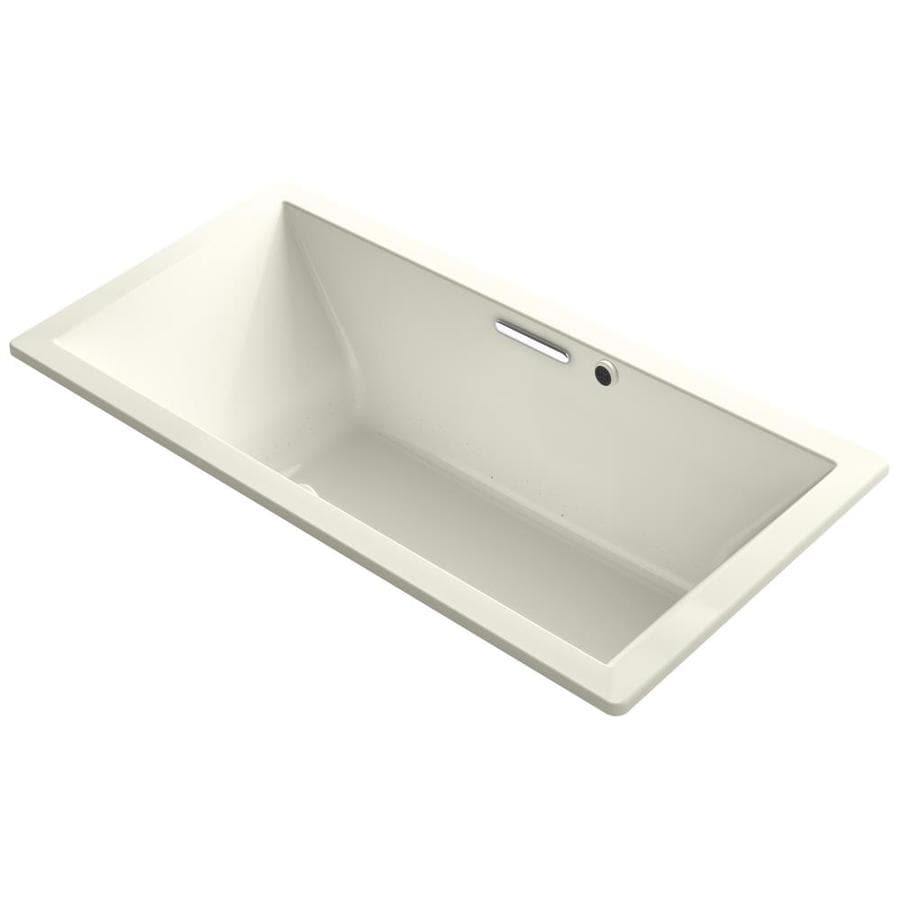 KOHLER Underscore 72-in L x 36-in W x 23-in H Biscuit Acrylic Rectangular Drop-in Air Bath