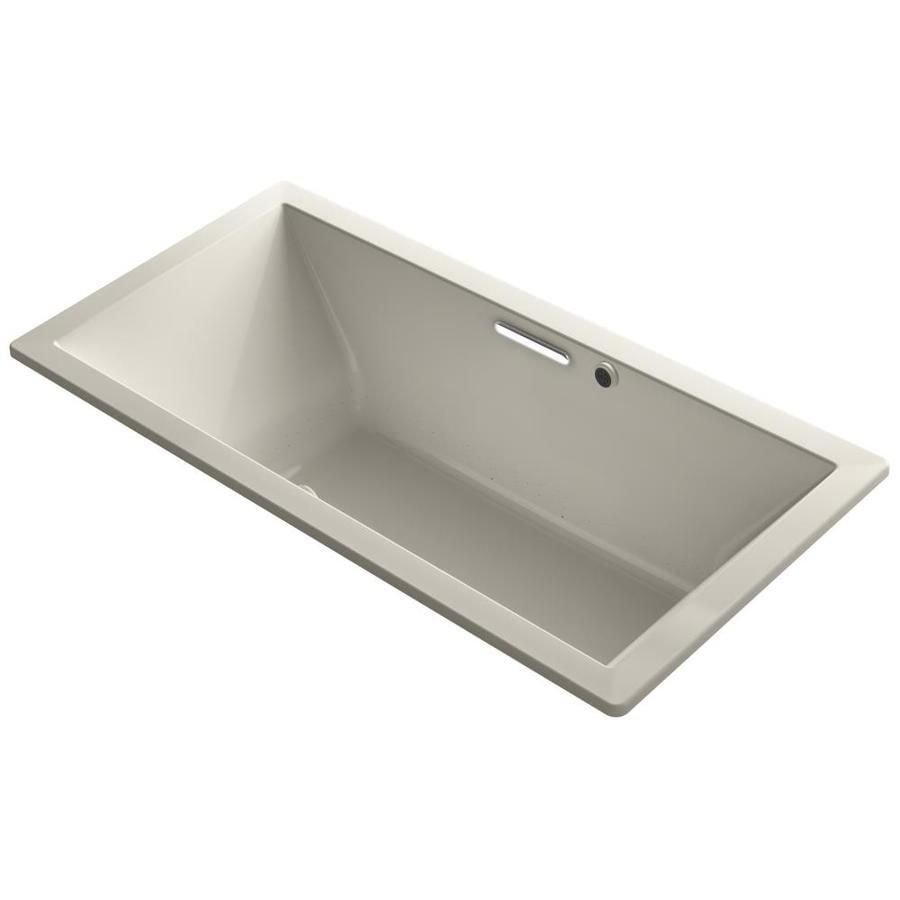 KOHLER Underscore 72-in Sandbar Acrylic Drop-In Air Bath with Front Center Drain