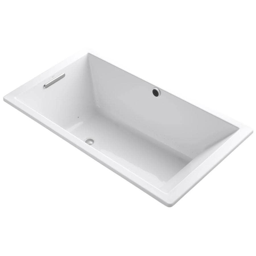 KOHLER Underscore 66-in White Acrylic Drop-In Air Bath with Reversible Drain