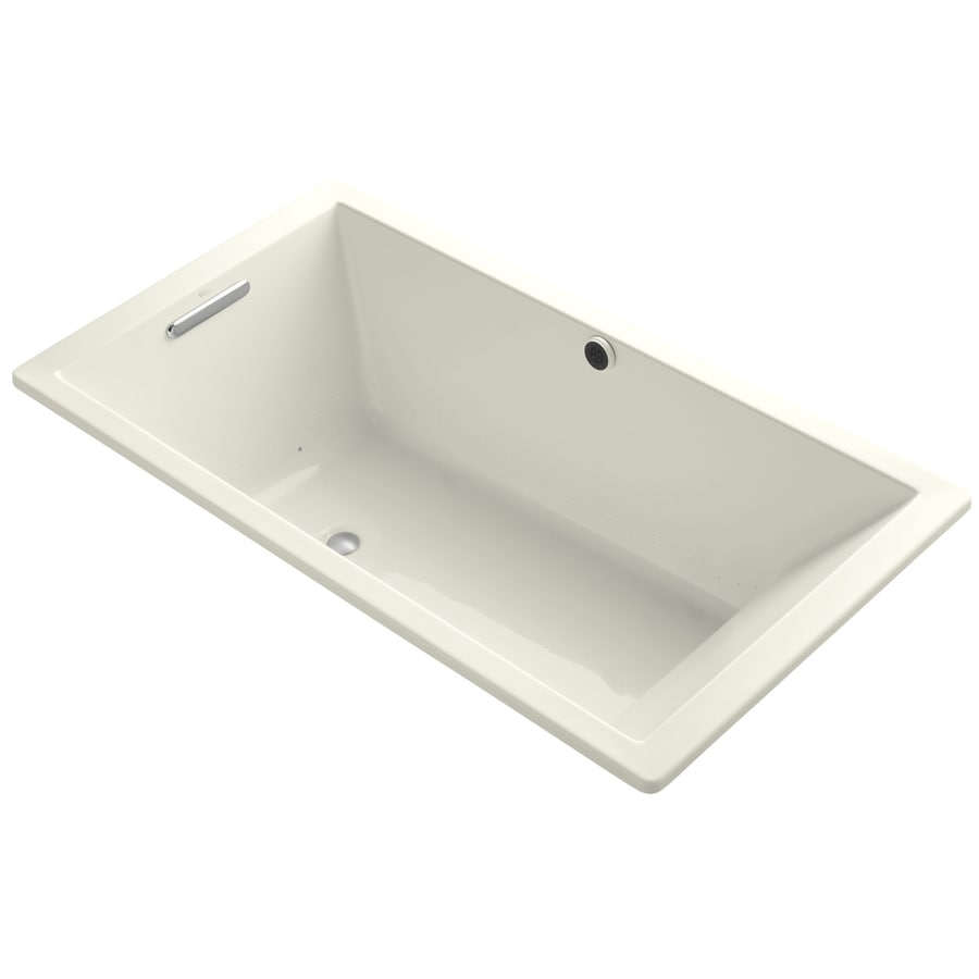KOHLER Underscore 66-in L x 36-in W x 22-in H Biscuit Acrylic Rectangular Drop-in Air Bath