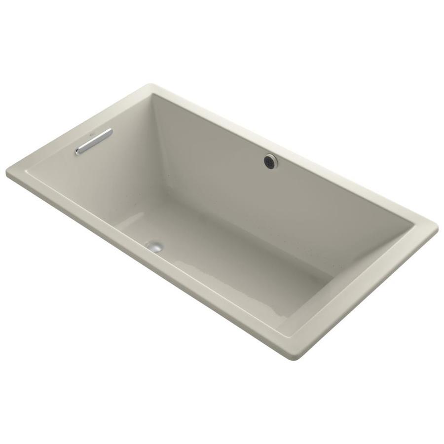 KOHLER Underscore 66-in Sandbar Acrylic Drop-In Air Bath with Reversible Drain