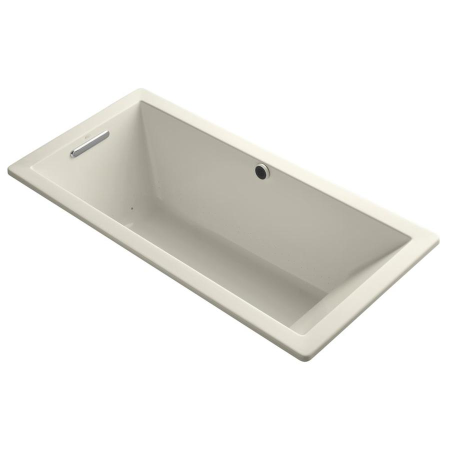 KOHLER Underscore 66-in Almond Acrylic Drop-In Air Bath with Reversible Drain