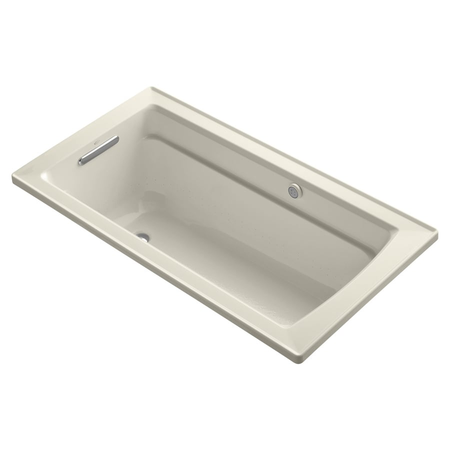 KOHLER Archer 60-in L x 32-in W x 20.25-in H Almond Acrylic Rectangular Alcove Air Bath