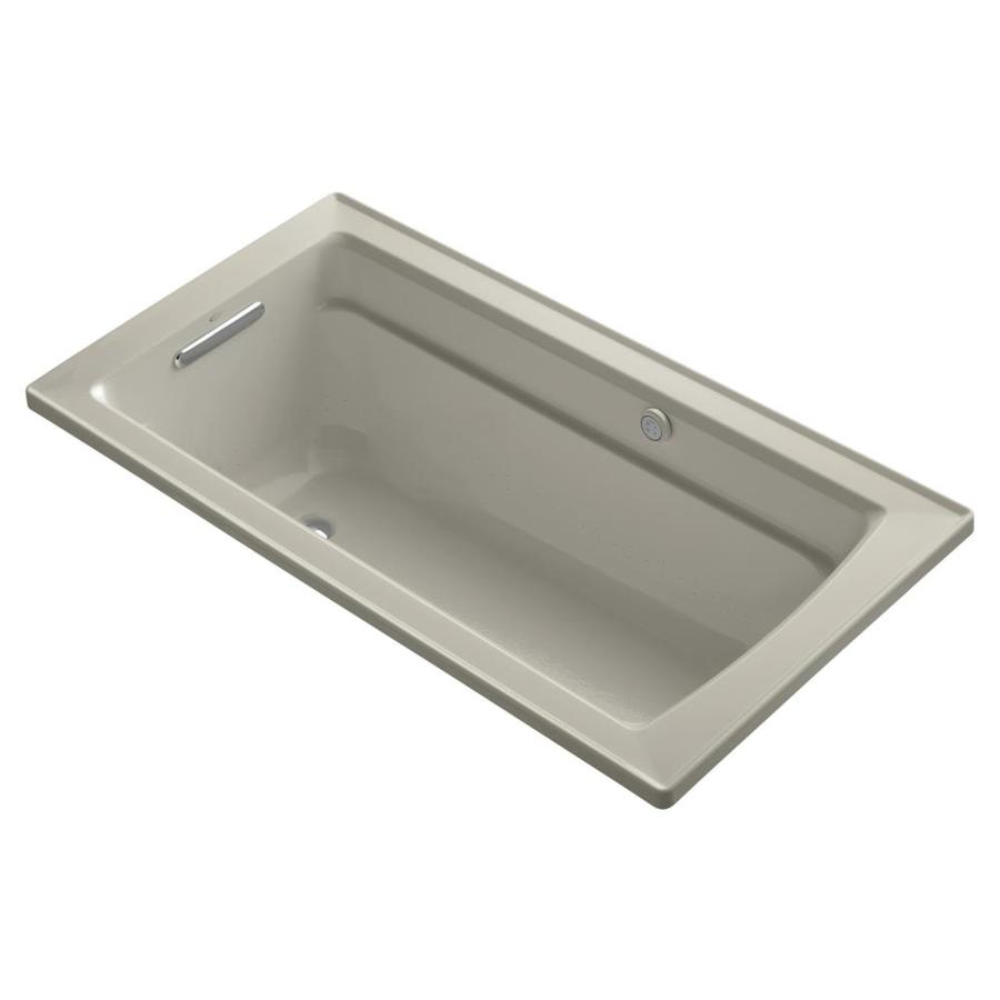 KOHLER Archer 60-in Sandbar Acrylic Alcove Air Bath with Reversible Drain