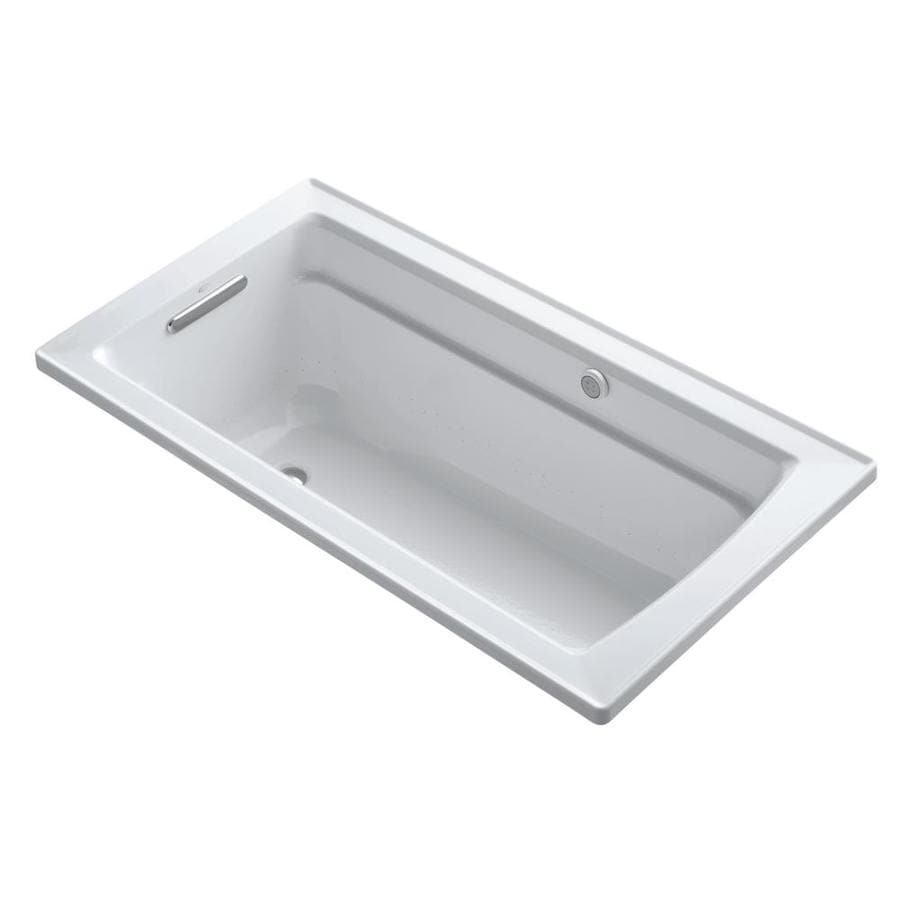 KOHLER Archer 60-in Dune Acrylic Alcove Air Bath with Reversible Drain