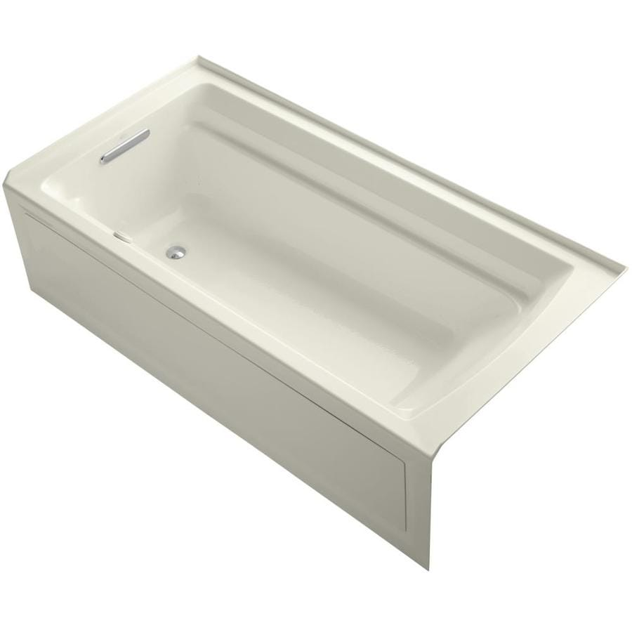 KOHLER Archer 72-in Biscuit Acrylic Alcove Air Bath with Left-Hand Drain