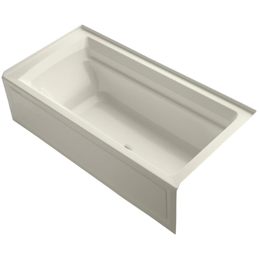 KOHLER Archer 72-in L x 36-in W x 20.25-in H Almond Acrylic Rectangular Alcove Air Bath