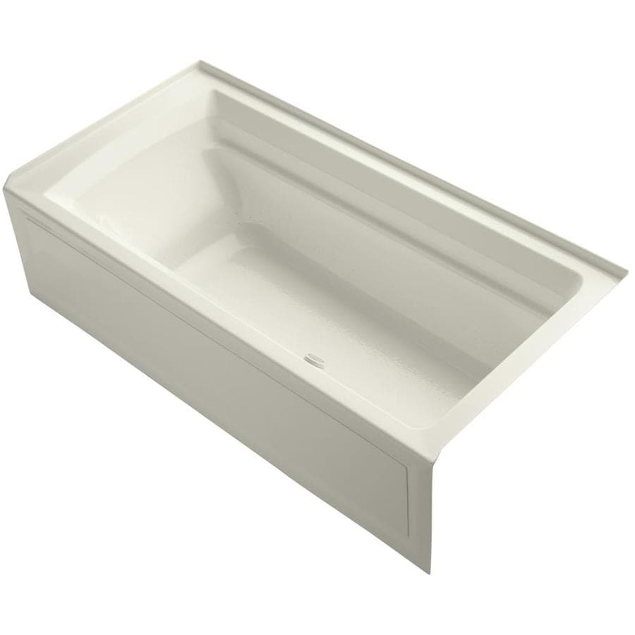KOHLER Archer 72-in Biscuit Acrylic Alcove Air Bath with Right-Hand Drain