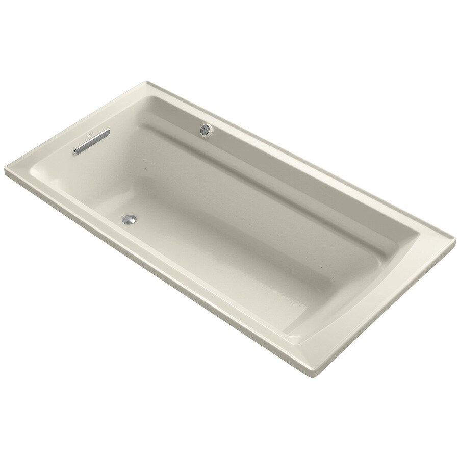 KOHLER Archer 72-in Almond Acrylic Alcove Air Bath with Reversible Drain